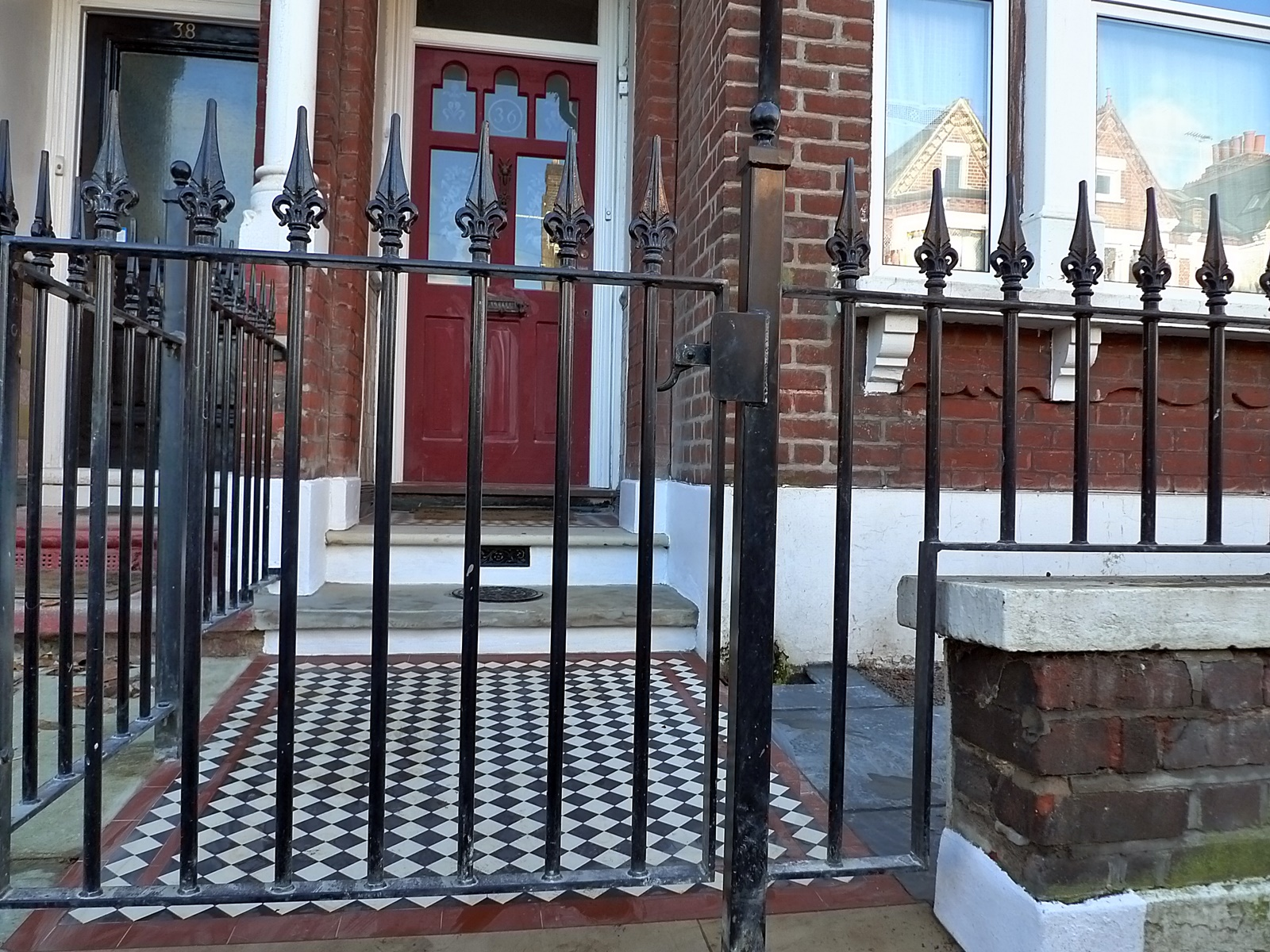 Brick Red Garden Wall Metal Rail Iron Gate London Brixton