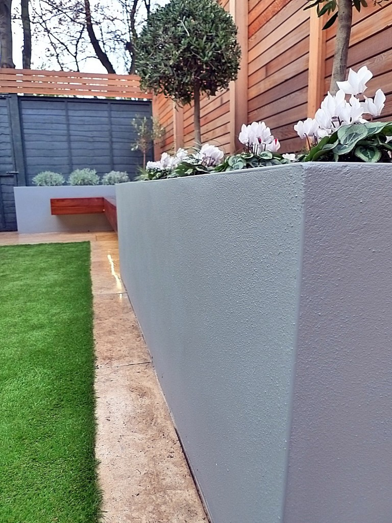 Dulwich Streatham artificial grass planting modern design garden grey colour scheme London Chelsea Fulham