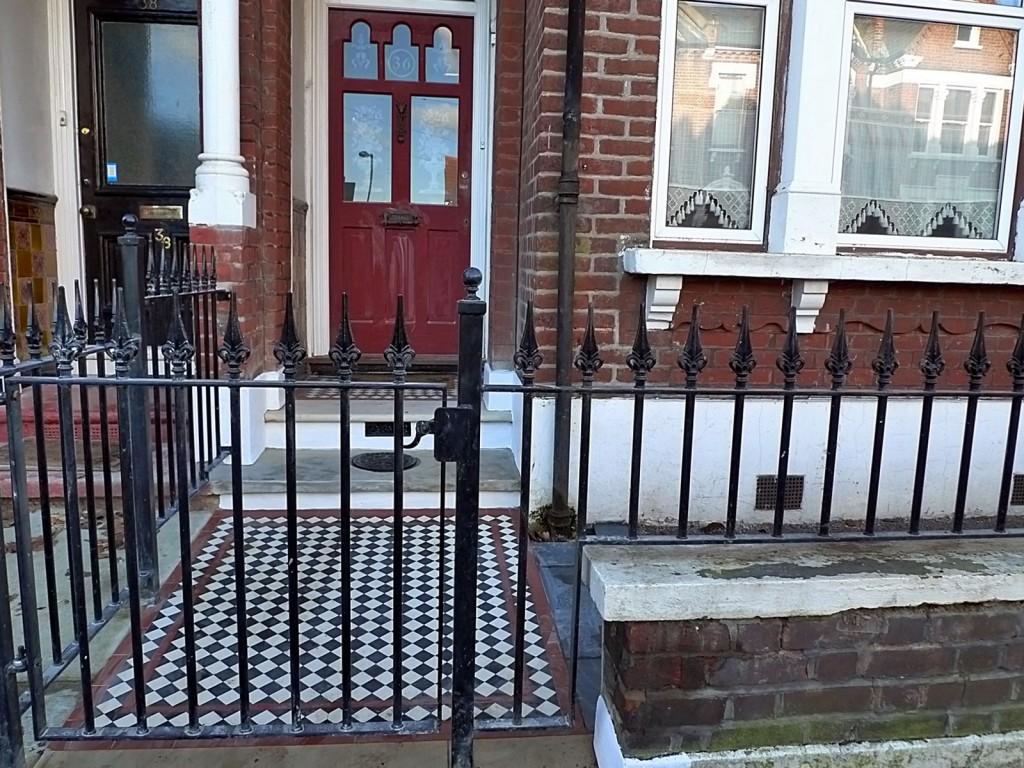 Front garden Victorian mosaic tile path iron London Brixton Clapham Wandsworth Balham