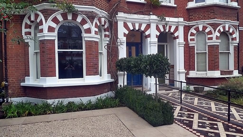Modern Front Garden Design Victorian mosaic formal Clapham Wandsworth