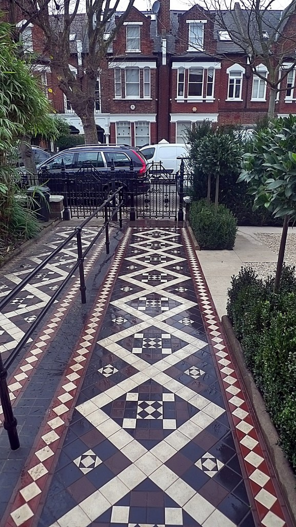 Multi colour mosaic design metal rail planting topiary London Balham Clapham Wandsworth