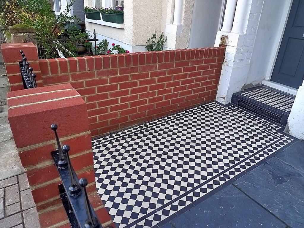 Render brick garden walls London Victorian mosaic black and white Brixton Earsfield Clapham  Balham