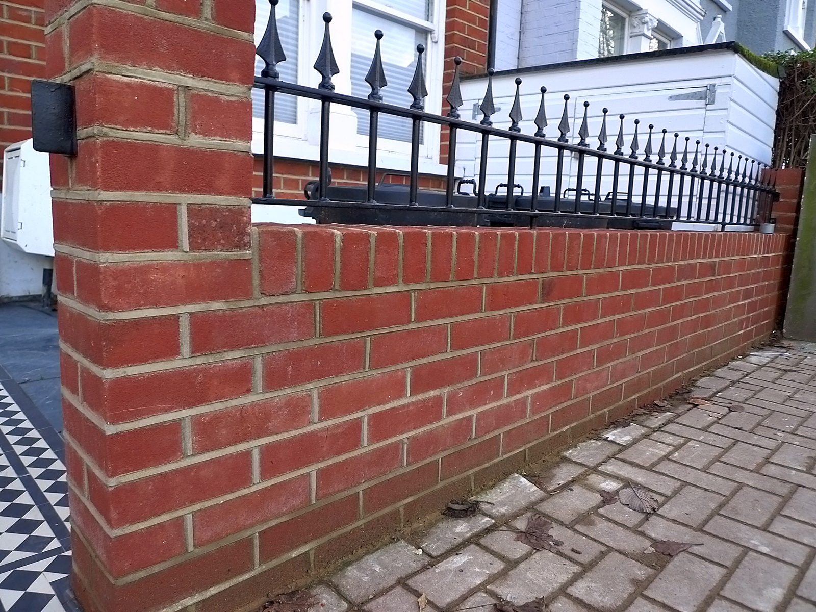 Victorian Front Company London Walls Red Brick Formal Bespoke Tile Grey  Path Wrought Rail Metal Gate Earsfield Battersea Streatham Clapham