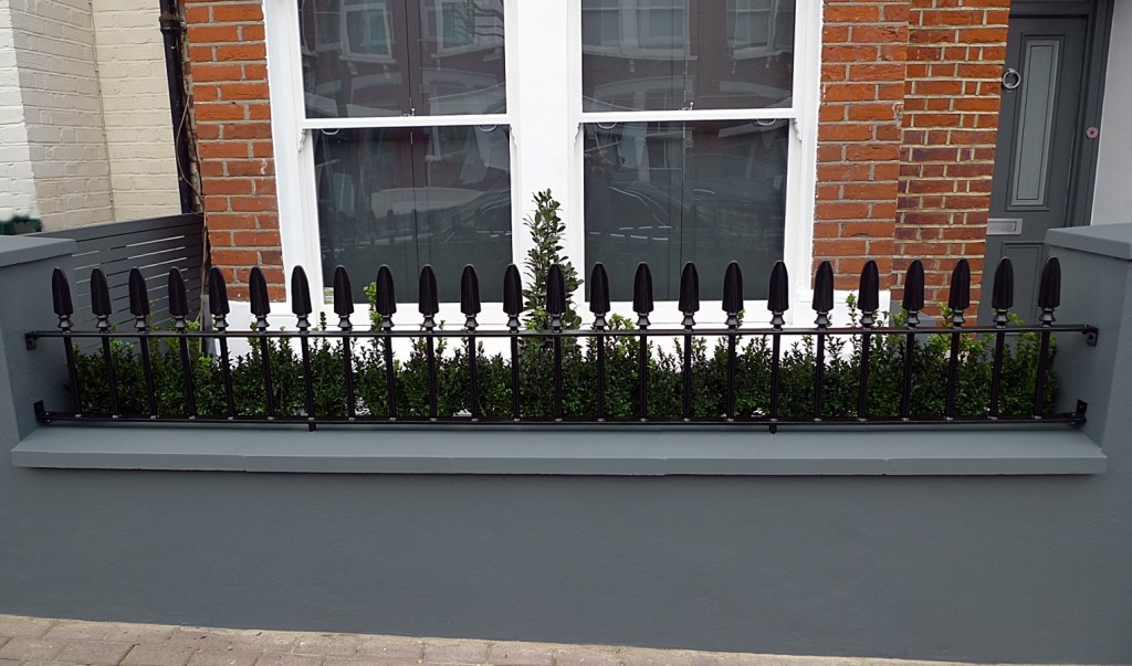 Wrought metal rail gate grey walls cap coping planting formal Wandsworth London Balham Clapham