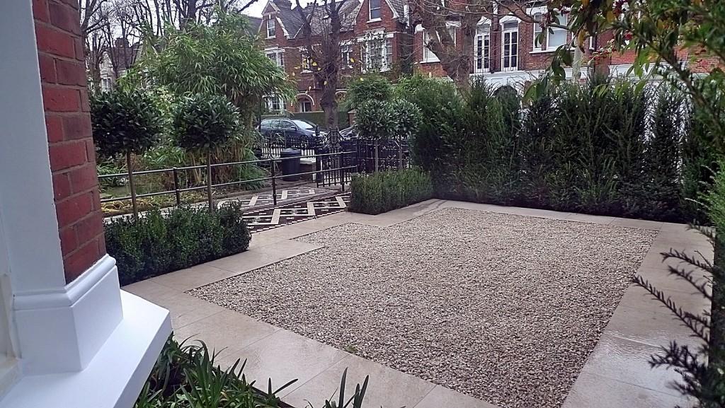 Yew trees Balham Clapham Front Garden Design pebbles planting London