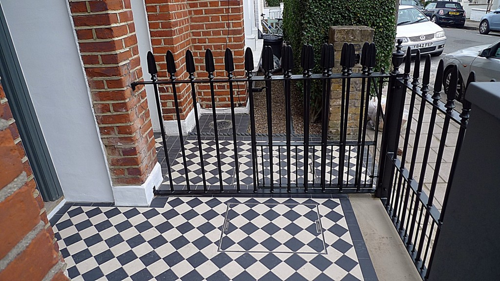 York stone Entrance stone multi colour mosaic metal rail wrought London Clapham Wandsworth Balham