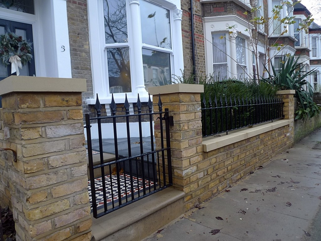 York stone entrance brick garden wall metal rail gate London Dulwich Peckham