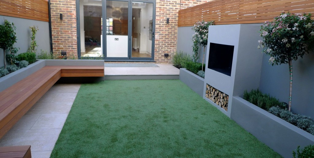 modern garden designer london artificial grass hardwood seat fireplace hardwood slatted cedar screen trellis belgravia hyde park westminster london