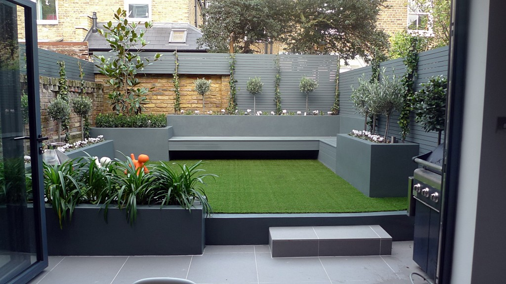 modern small low maintenance garden fake grass grey raised beds contemporary planting kensington london