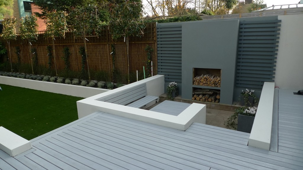 Grey deck raised beds bench seat Modern Garden Design London Balham Clapham Battersea
