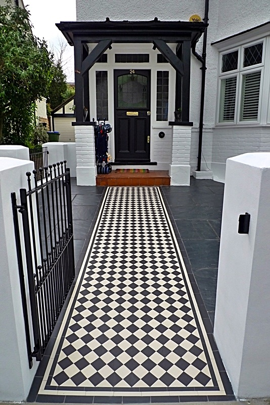 balham landscaping london black and white victorian mosaic tile path