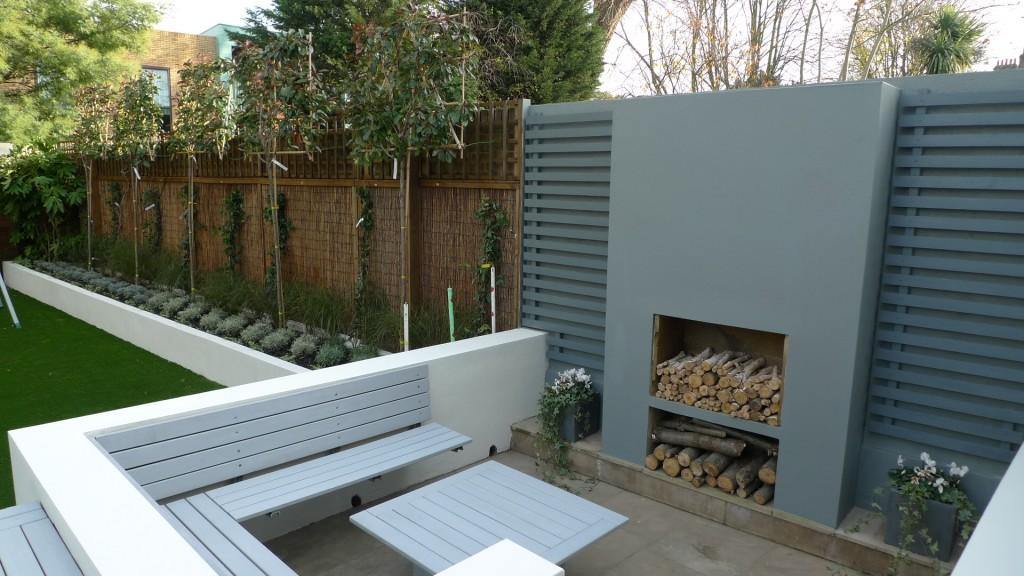 low maintenance grey deck raised beds Modern Garden Company