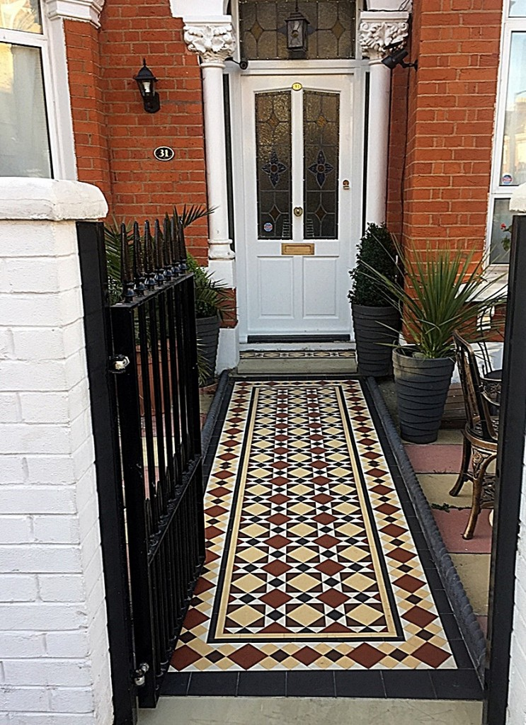 Low maintenance path tile multi colour mosaic front garden design London Clapham Balham Battersea Wandsworth