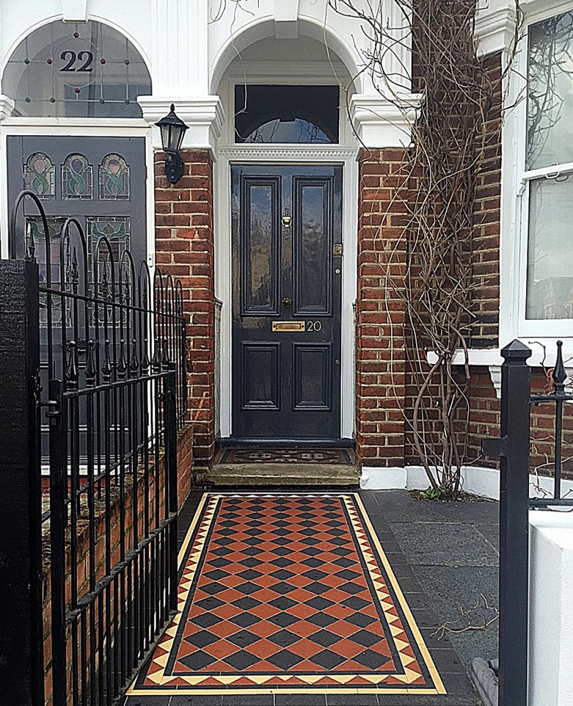 Low maintenance  red black yellow Victorian Mosaic Clapham Wandsworth Balham