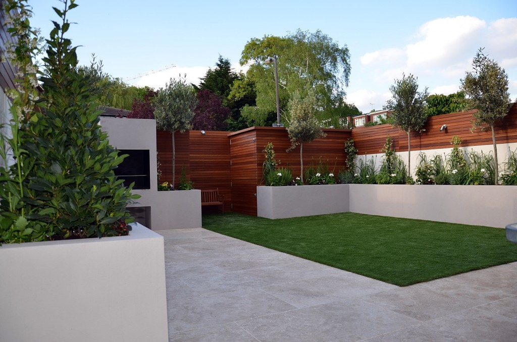 Artificial grass hardwood raised bed fake easi travertine paving London Chelsea Fulham Wandsworth Kensington