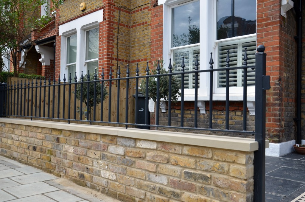 Brick garden wall Imperial stock York stone metal rails gate path tile London Balham Clapham Wandsworth Battersea