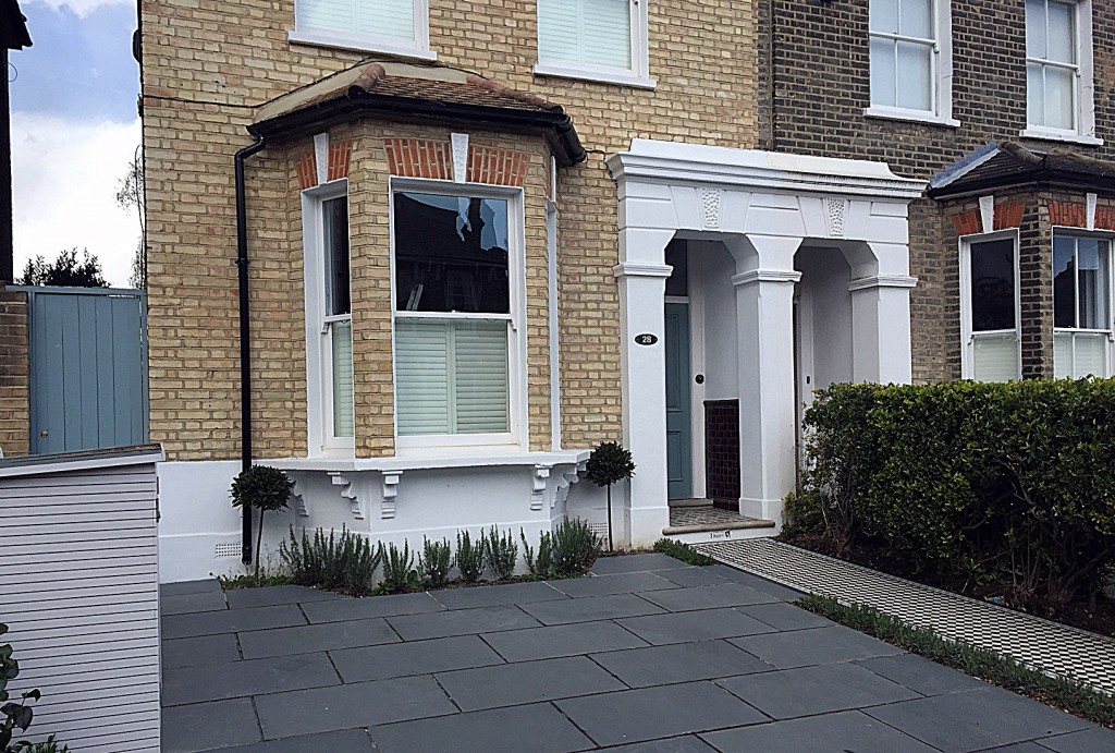 Front garden company bespoke bin storage mosaic path tile grey planting London Dulwich Balham Wandsworth