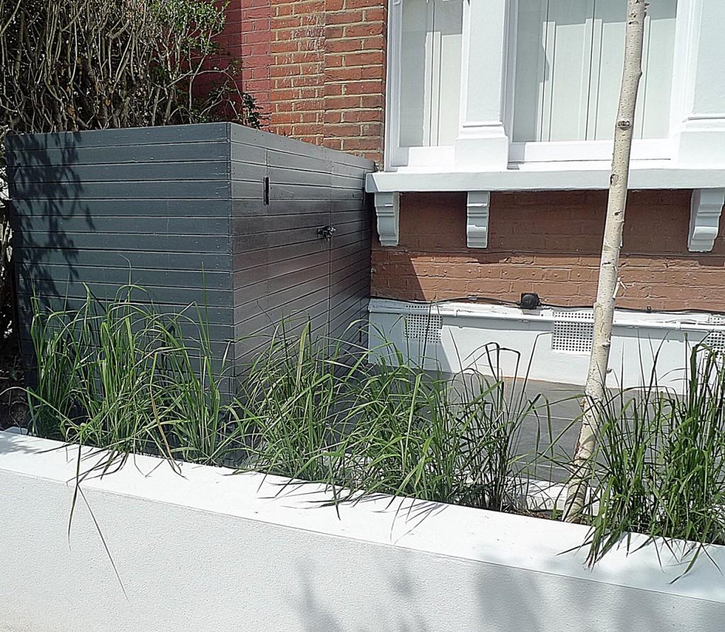 Front garden design bespoke bin storage raised bed white planting tree path slate paving London Purley Croydon Cheam