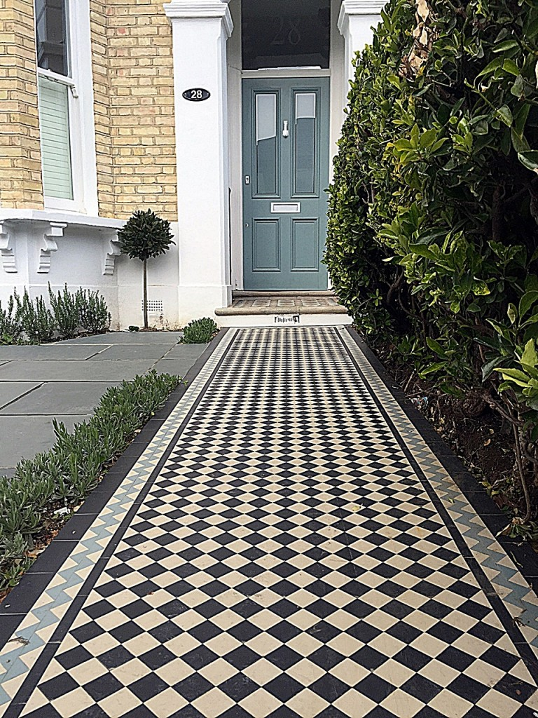 London Victorian Mosaic Classic path planting black white grey Wandsworth Clapham Balham Battersea