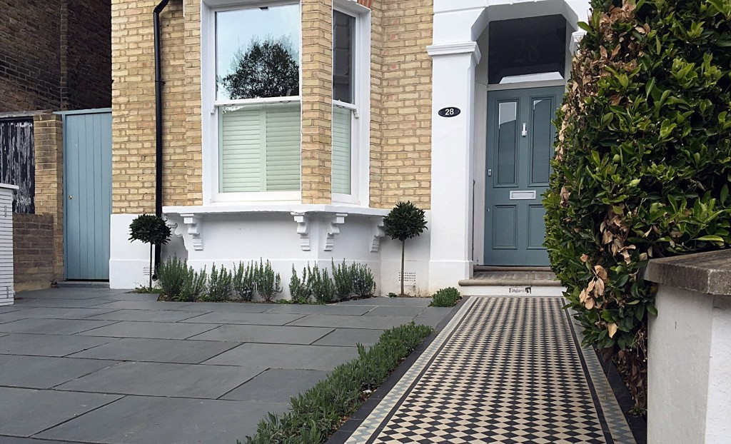 London Victorian mosaic black white path tile driveway grey planting York stone Dulwich