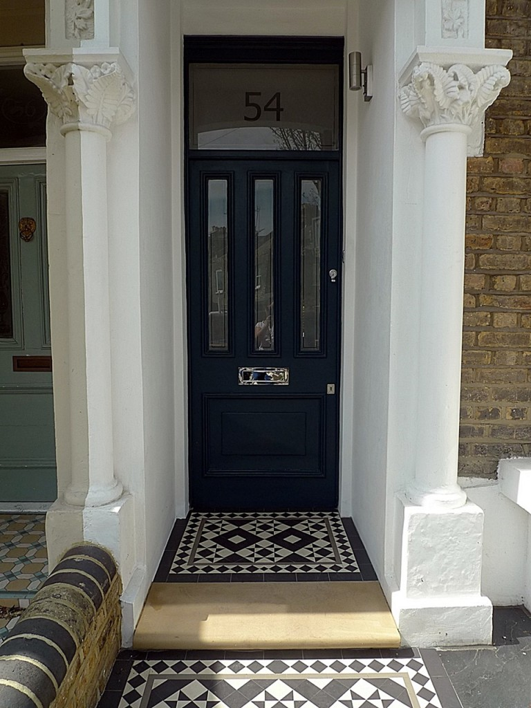 Low maintenance York stone Entrance stone brick wall slate paving grey colour painting porch white London