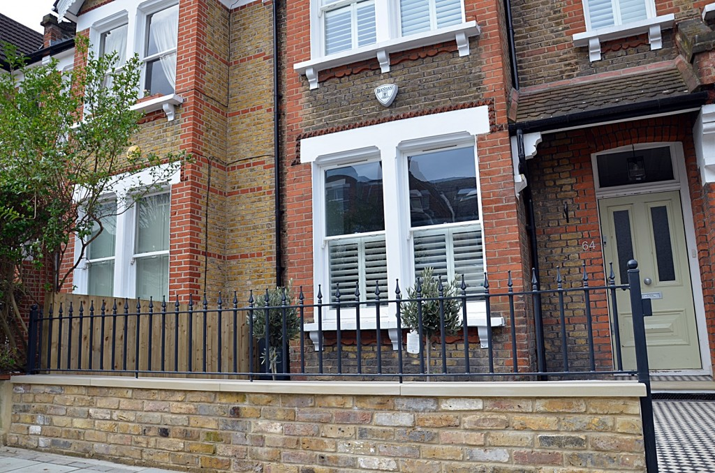 Low maintenance iron metal rails wrought York stone brick front wall Yellow stock London Clapham Streatham Balham