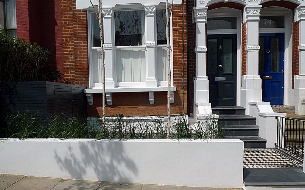 Low maintenance slate paving bespoke bin storage raised bed planting painting  London Richmond Kingston