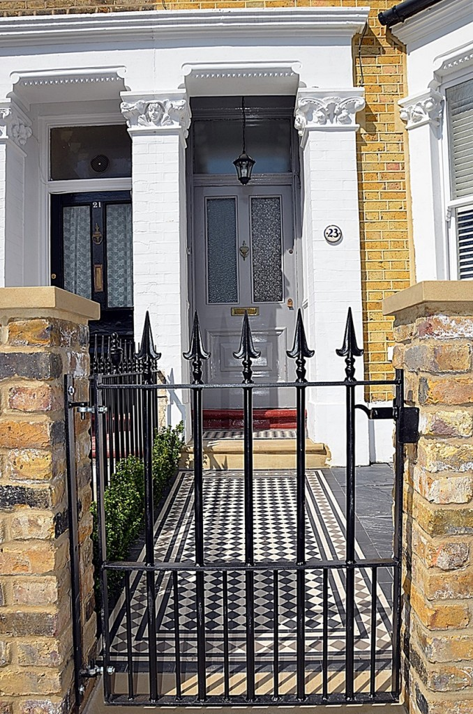 Metal gate rails Victorian Mosaic black white York stone brick wall imperial Yellow stock cap coping path London Balham Earsfield Wandsworth