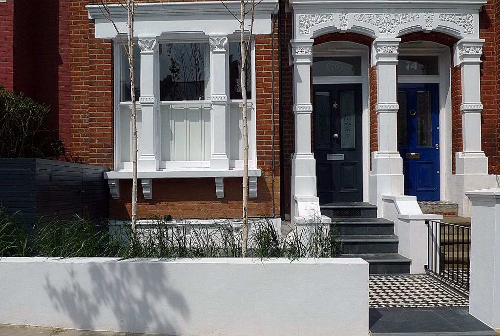Victorian Classic  black and white mosaic raised bed steps metal rail  planting Kingston Richmond Purley Croydon