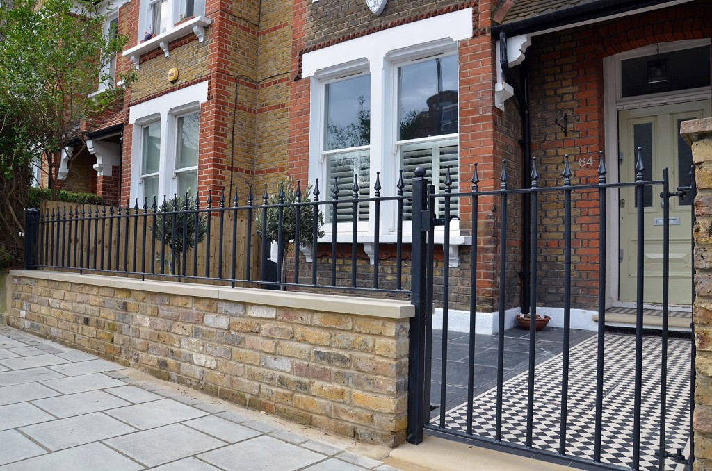 london mosaic forrest hill lstock brick wall yorkstone coping rail and gate balham
