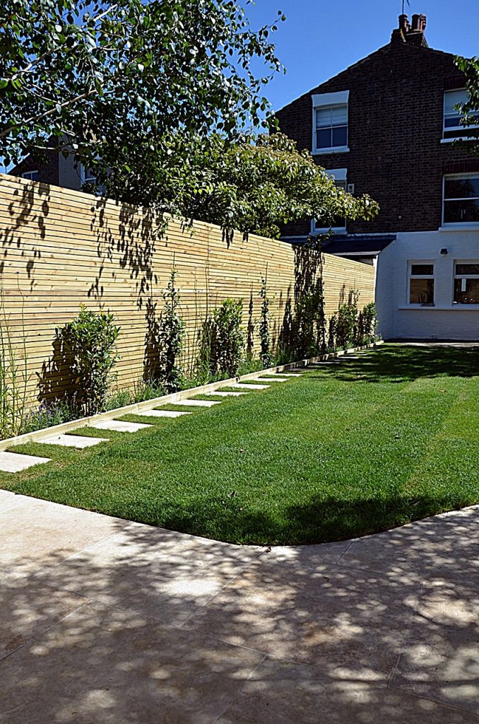 Artificial grass path paving privacy screen softwood trellis fencing London Balham Clapham Wansdworth