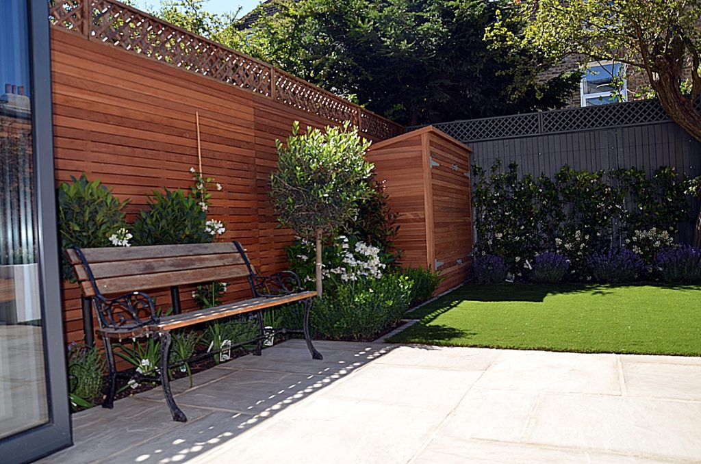Bespoke garden storage artificial grass Mayfair Chelsea Kensington London