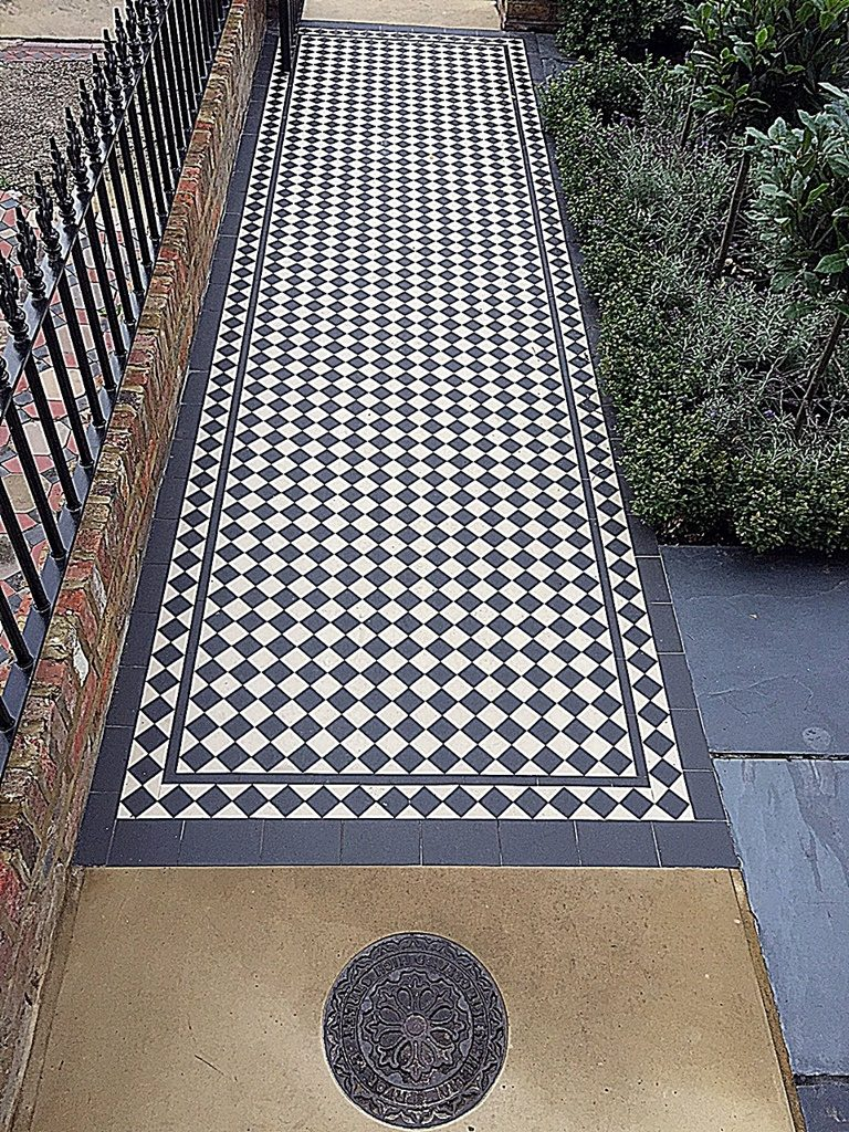 Black and white Victorian Mosaic London Clapham Balham Wandsworth