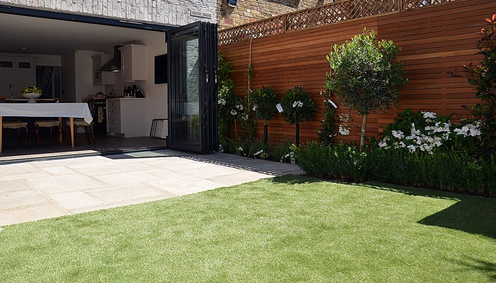 Garden storage artificial grass designer London Fulham Chelsea Mayfair Kensington