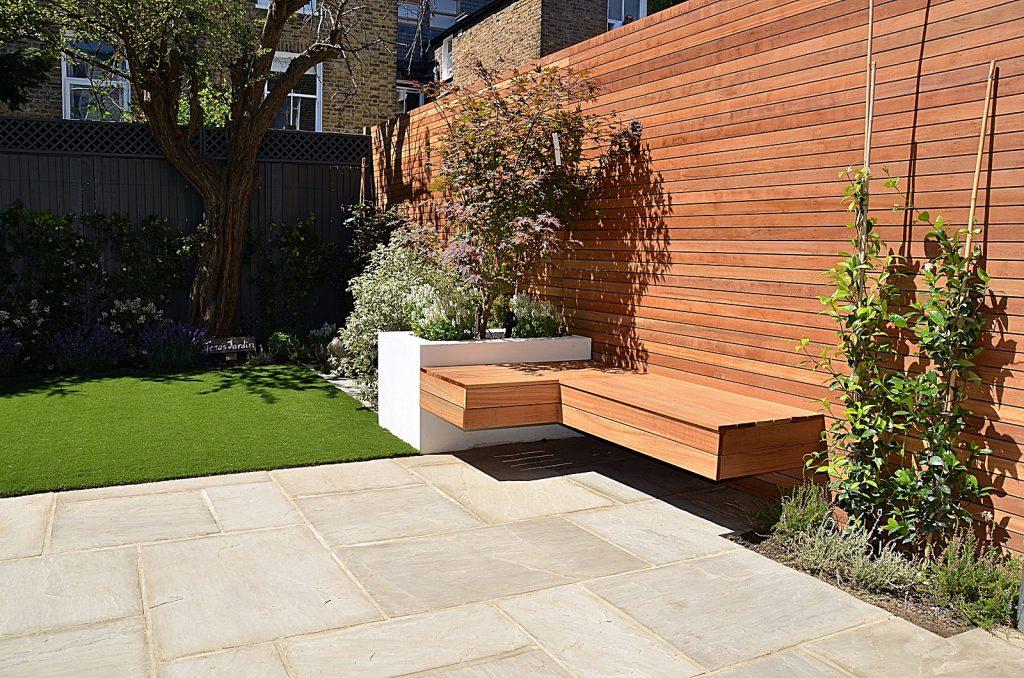 Hardwood paving path planting easi grass low maintenance Balham Clapham Wandsworth Battersea