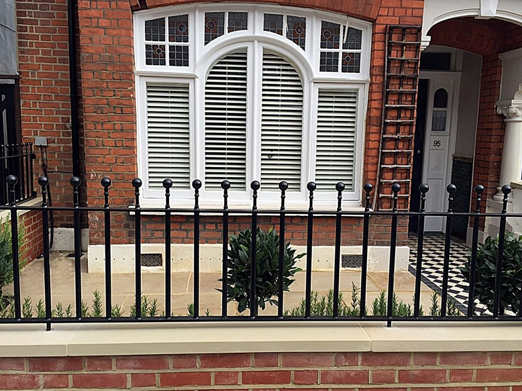 Low maintenance front red brick wall coping cap wrought gate rails London Clapham Balham Battersea Wandsworth