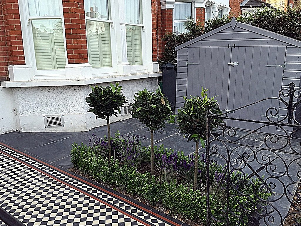 Low maintenance grey colour scheme bespoke storage planting iron gate London Wandsworth Battersea Earsfield Balham
