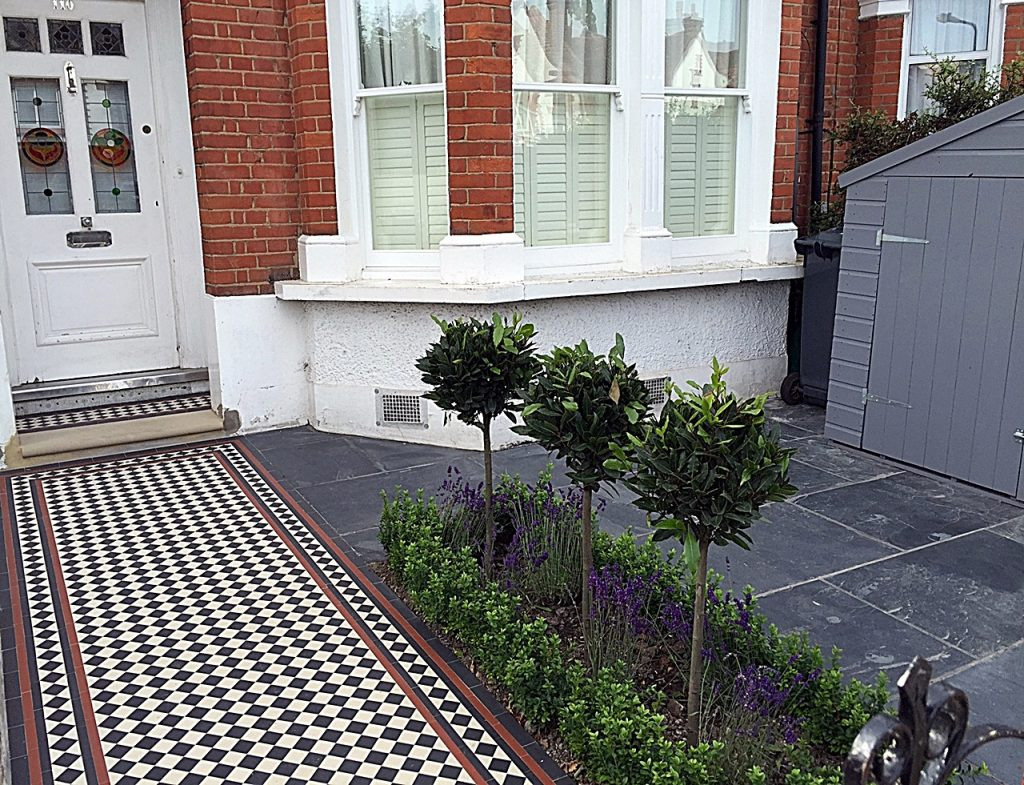 Multi colour Victorian Mosaic London slate paving planting storage grey Balham Clapham Wandsworth
