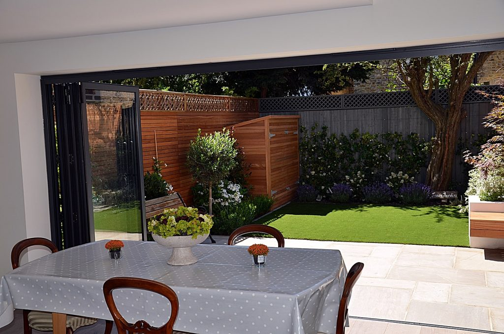 Privacy screen fake grass path paving planting Clapham Balham Wandsworth Battersea