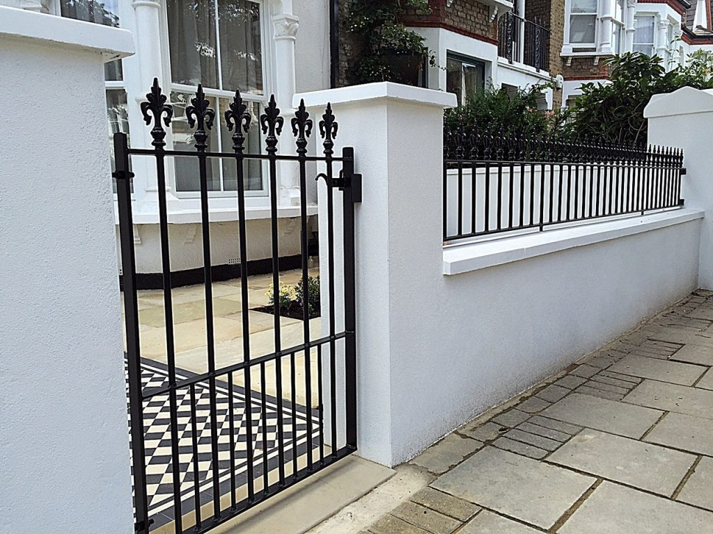 Render garden front wall metal gate rails Victorian mosaic London Balham Clapham Wandsworth