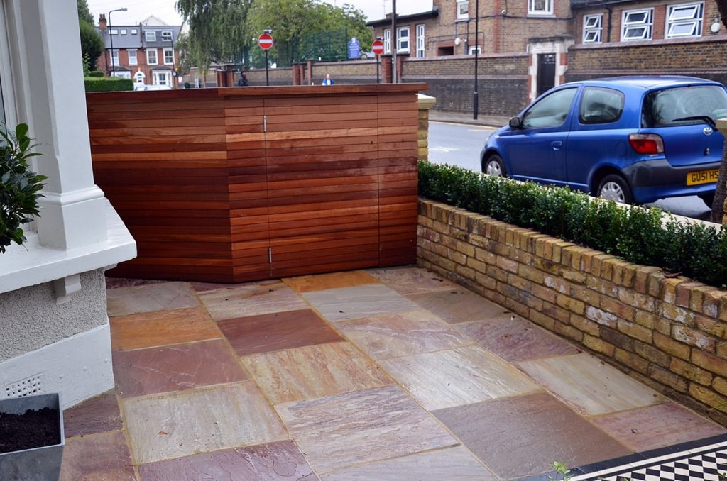 bespoke-storage-wood-sandstone-paving-brick-wall-path-tile-london-planting-wandsworth-clapham-balham-streatham