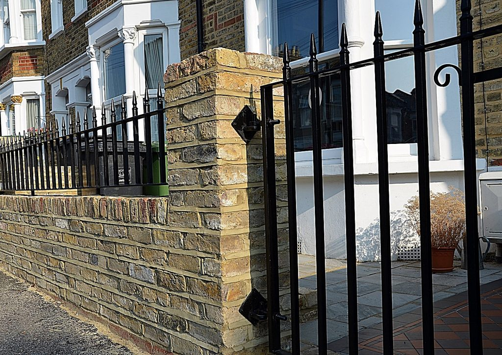 brick-garden-wall-metal-gate-rails-path-paving-victorian-mosaic-london-clapham-balham-streatham