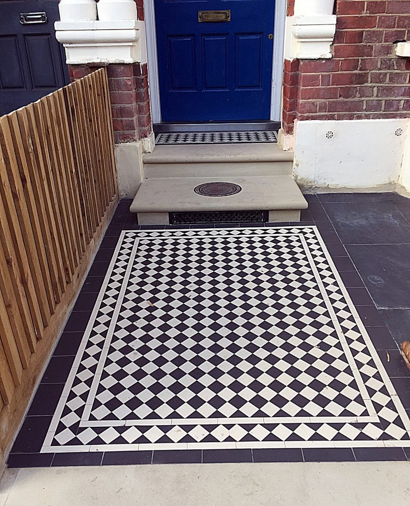 Classic Victorian black and white mosaic  London Clapham Balham Wandsworth Battersea