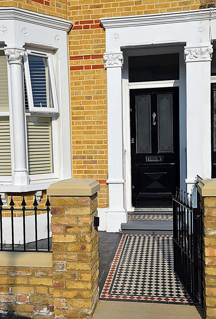 entrance-stone-wrouhgt-gate-rails-multi-colour-victorian-mosaic-london-streatham-balham-clapham
