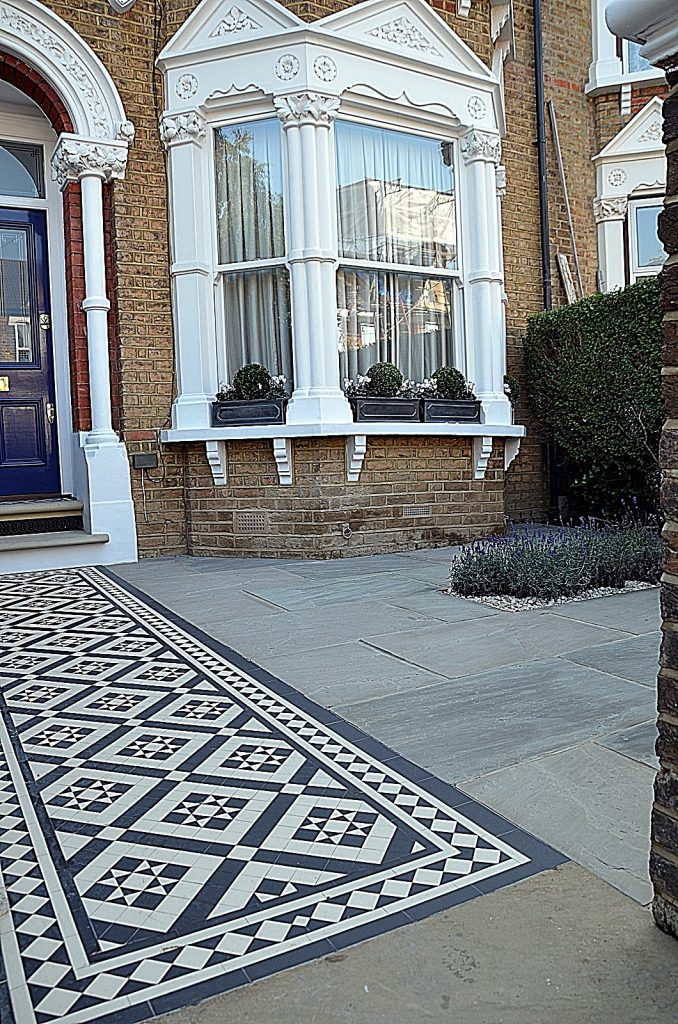 Front garden company Victorian classic mosaic black and white York stone paving path tile London