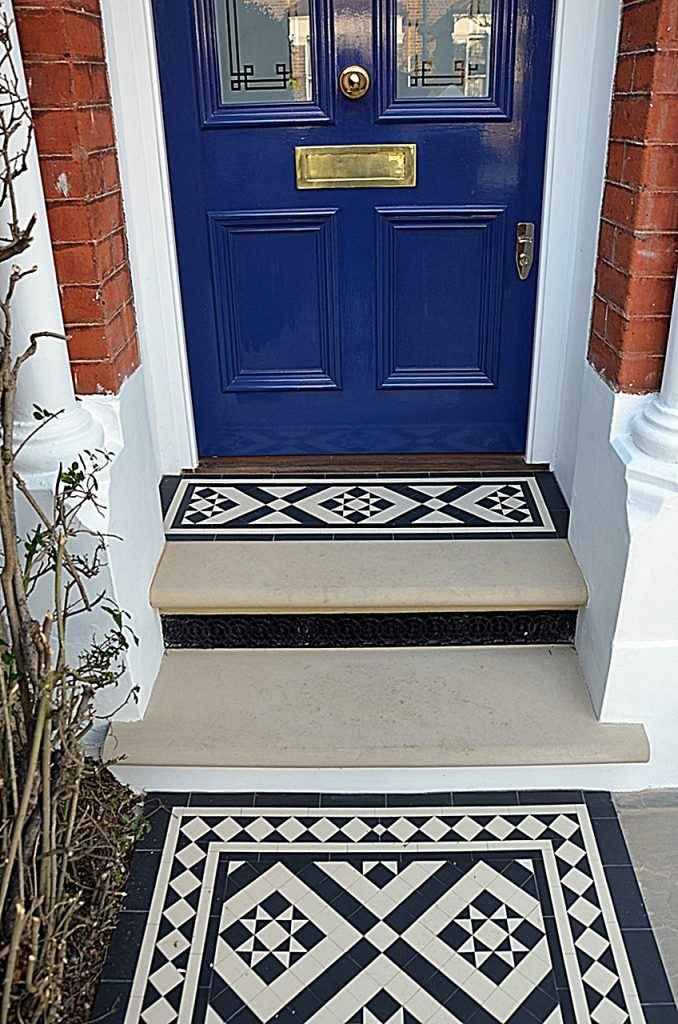 York stone bull nose Victorian classic black and white mosaic Entrance stone London