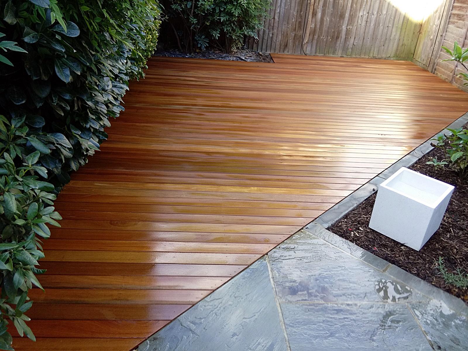 Path tile decking paving low maintenance privacy screen London ...