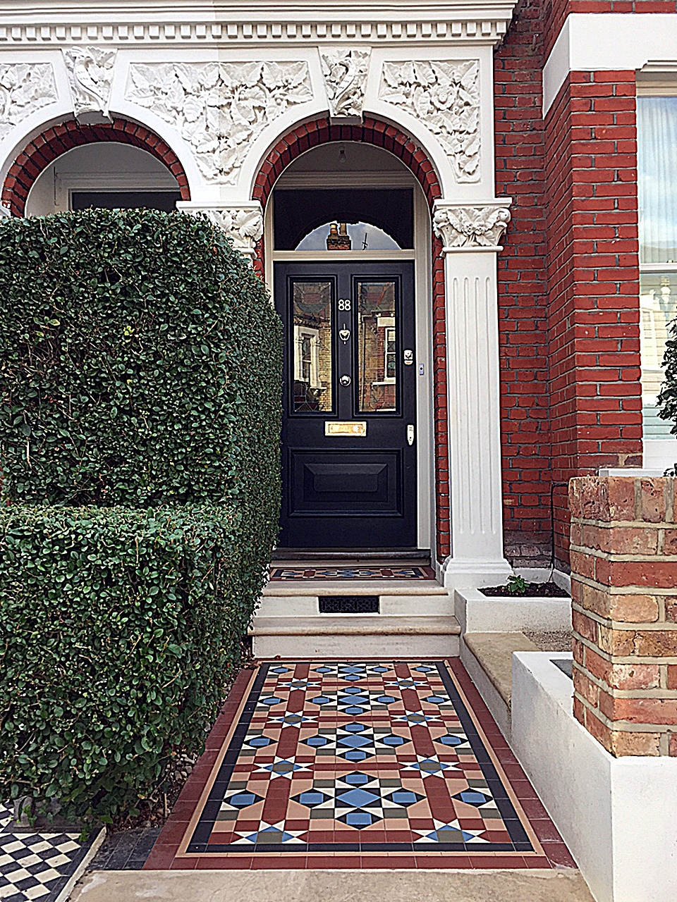 Multi Colour Edwardian Mosaic Front Garden Design London