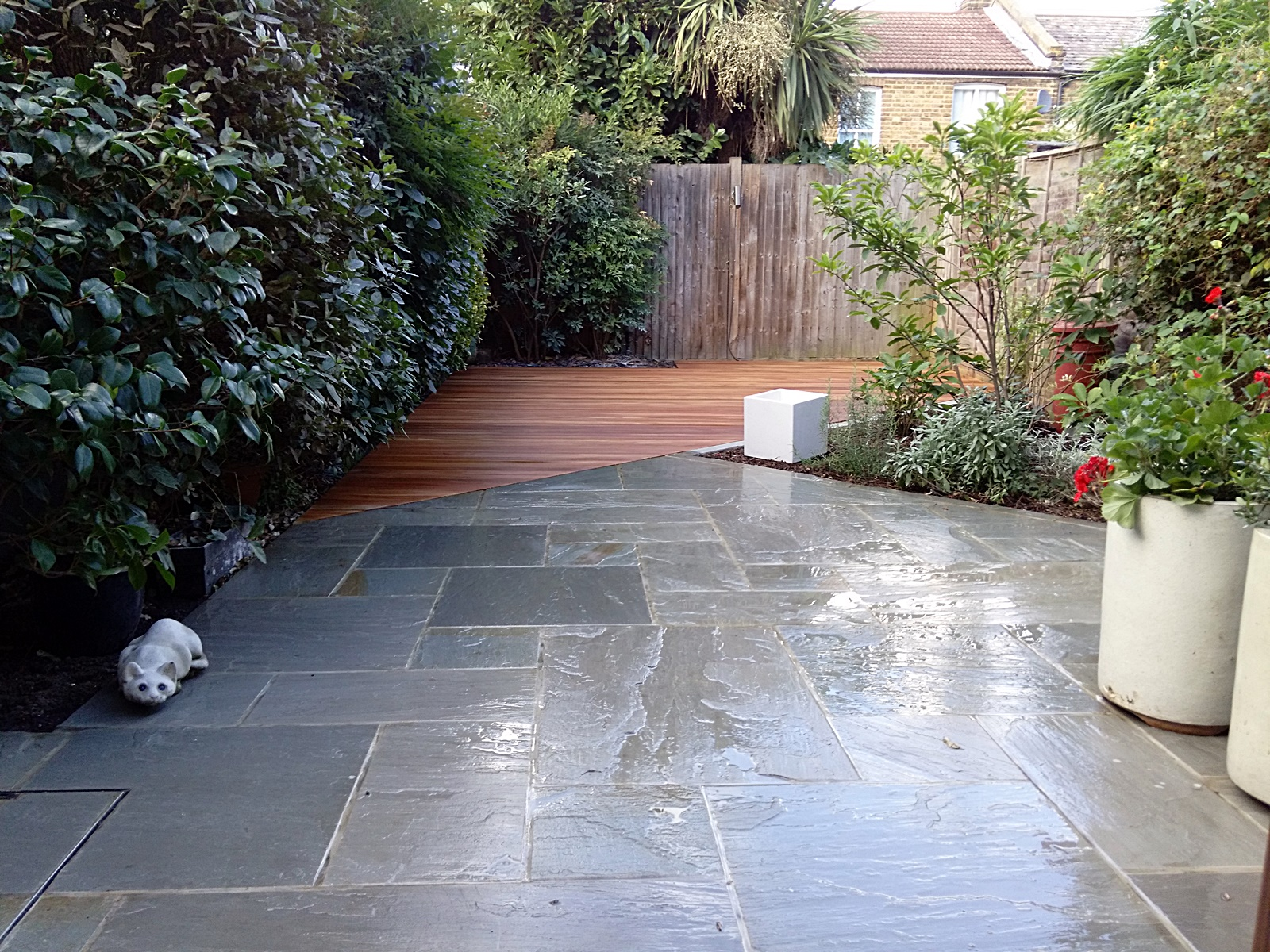 Path tile decking paving low maintenance privacy screen for Gardens with decking and paving