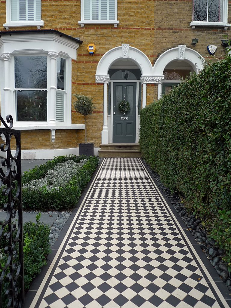 front garden victorian tile topairy bike bin store mosaic black and white wall west london